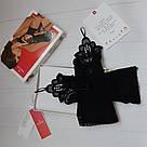 Перчатки кружевные через палец короткие черные Obsessive Luiza, фото 3