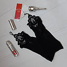 Перчатки кружевные через палец короткие черные Obsessive Luiza, фото 2