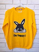 Женский джемпер тонкой вязки с рисунком заяц,желтый,Турция, фото 1