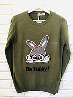 Женский джемпер тонкой вязки с рисунком заяц,хакки,Турция, фото 1