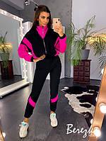 Костюм женский модный спортивный с контрастными вставками с пышными рукавами Db1841