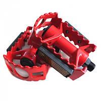 Педали алюминиевые (красные) для горного велосипеда на шариках со светоотражателями