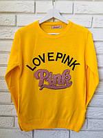 """Жіночий джемпер тонкої в'язки з написом """"PINK"""", жовтий,Туреччина, фото 1"""