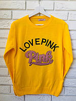 """Жіночий джемпер тонкої в'язки з написом """"PINK"""", жовтий,Туреччина"""