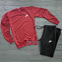 Мужской спортивный костюм в стиле Nike black-red осенний / весенний