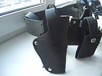 Кобуры для ПМ поясные,открытые,кожаные, черного цвета,код:423.