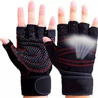 Качественные перчатки для фитнеса, вело-туризма, для спорта,тренировок с напульсником ZACRO размер М