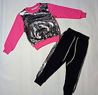 Трикотажный костюм в пайетку для девочки