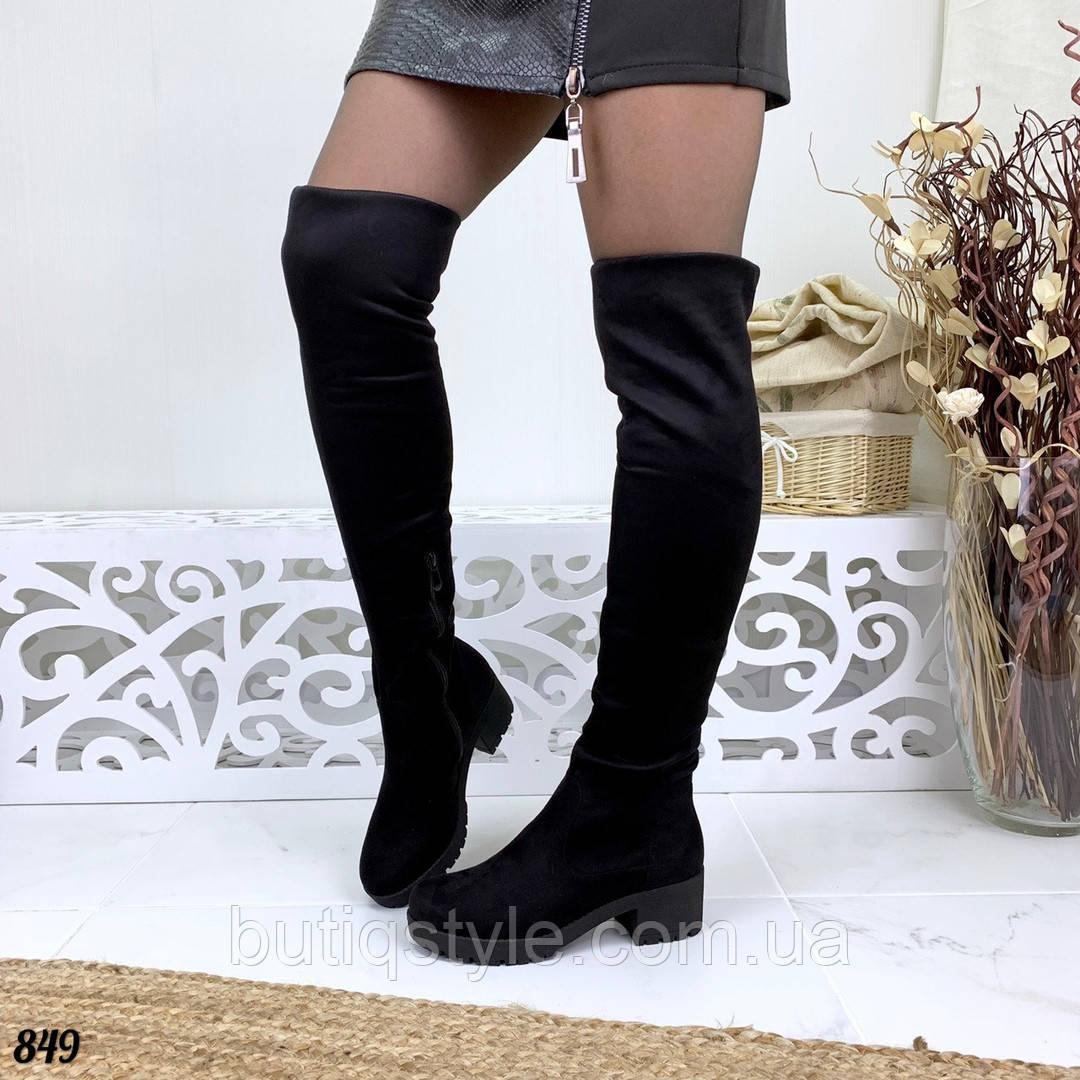 40 размер Женские черные ботфорты на среднем каблуке экозамш Деми