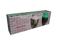 Набор стеклянных банок 350 мл 3 шт с пластиковыми крышками-шляпками разных цветов Everglass Katrin, фото 1