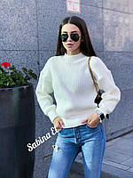 Свободный женский свитер с довязами однотонный с шерстью 7ddet568