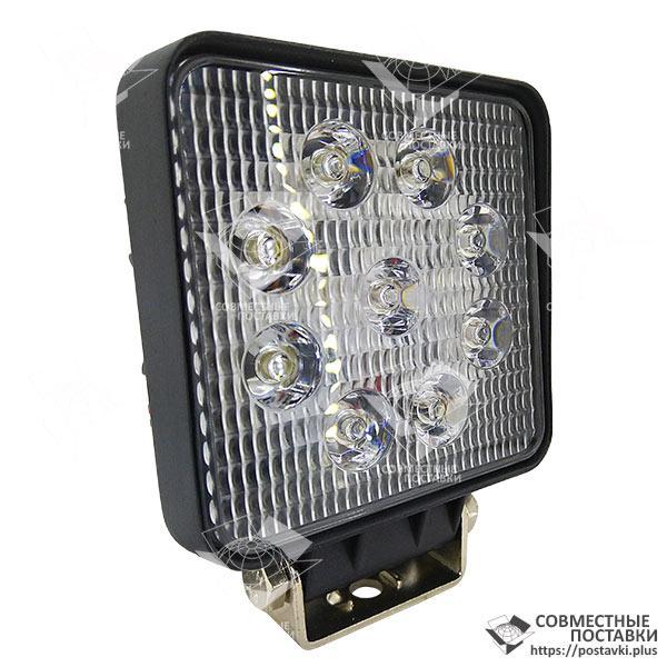 27W / 30 (9X3W / узкий луч, квадратный корпус) 2000 LM LED фара рабочая квадратная 27W, 9 ламп, 10-30V, 6000K