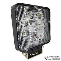 27W / 30 (9X3W / узкий луч, квадратный корпус) 2000 LM LED фара рабочая квадратная 27W, 9 ламп, 10-30V, 6000K, фото 1