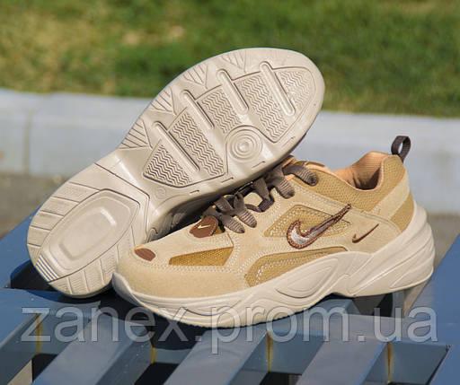 Мужские кроссовки Nike M2K Tekno Linen & Wheat & Ale Brown коричневые замшевые осенние демисезонные, фото 2