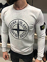 Мужской свитшот светло-серый / 6 цветов / ЛЮКС КАЧЕСТВО ТУРЦИЯ / Свитшот мужской Stone Island