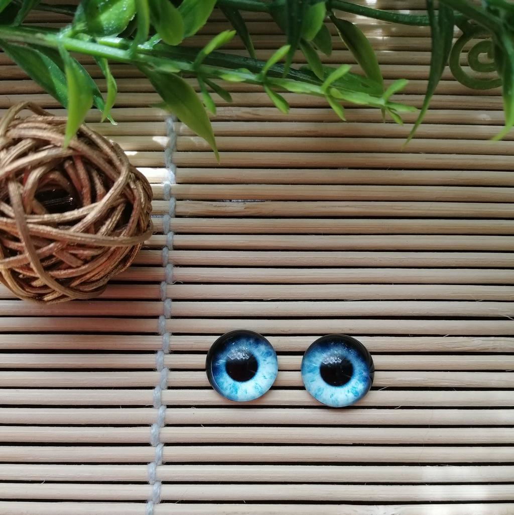 """Глазки """"живые"""", 12 мм,  серо голубые"""