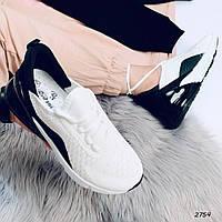 Кроссовки Материал обувной текстиль Пятка силикон Цвет белый+черный В2754