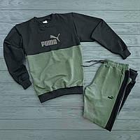 Мужской спортивный костюм в стиле Puma black-khaki осенний / весенний