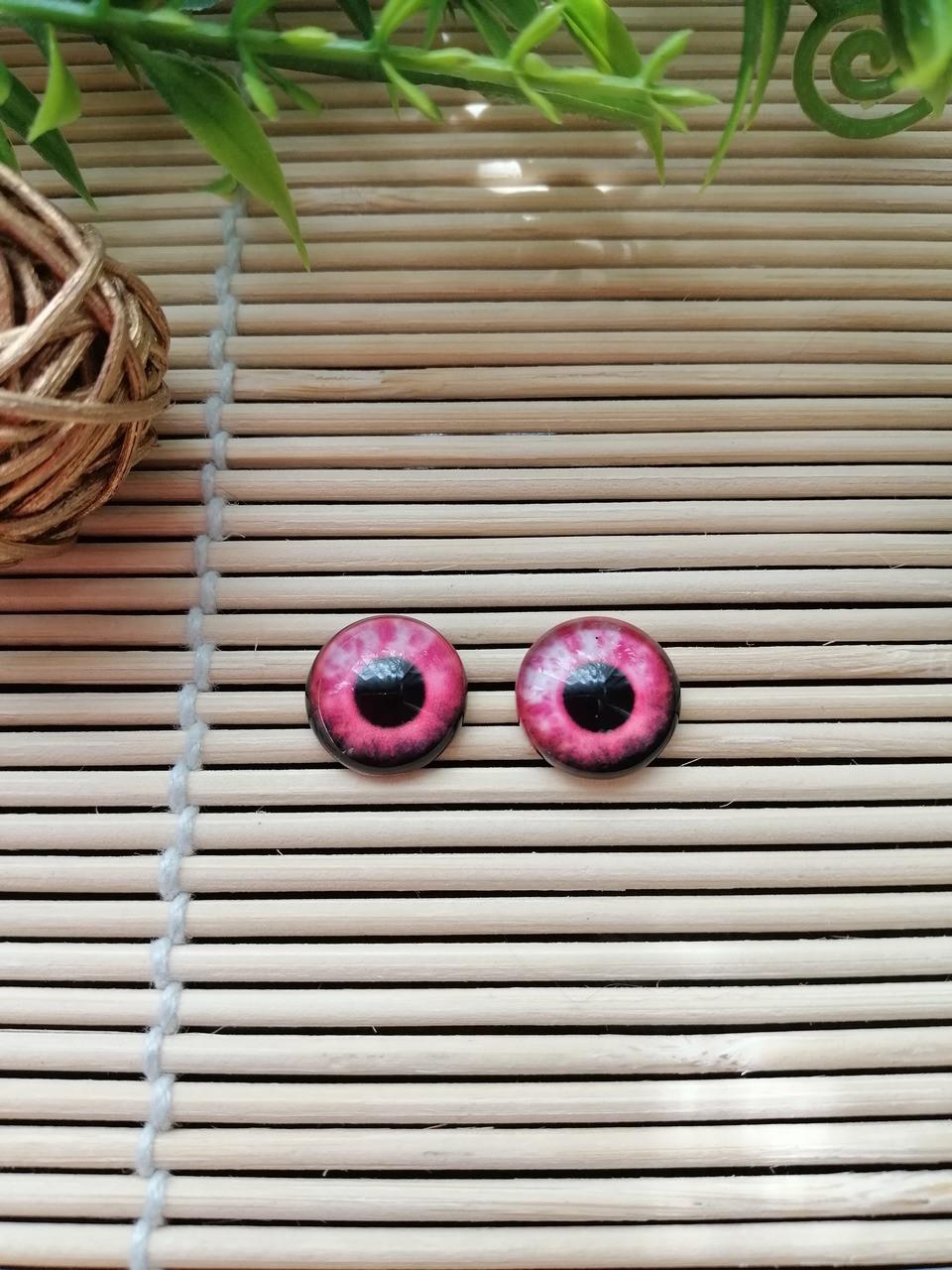 """Глазки """"живые"""", 12 мм,  розовые"""