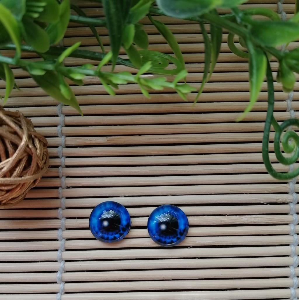 """Глазки """"живые"""", 12 мм,  синие"""