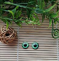 """Глазки """"живые"""", 12 мм,  бледно зеленые"""