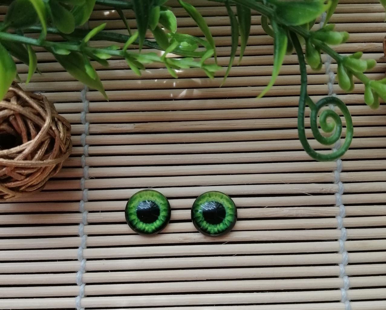 """Глазки """"живые"""", 12 мм,  зеленые"""