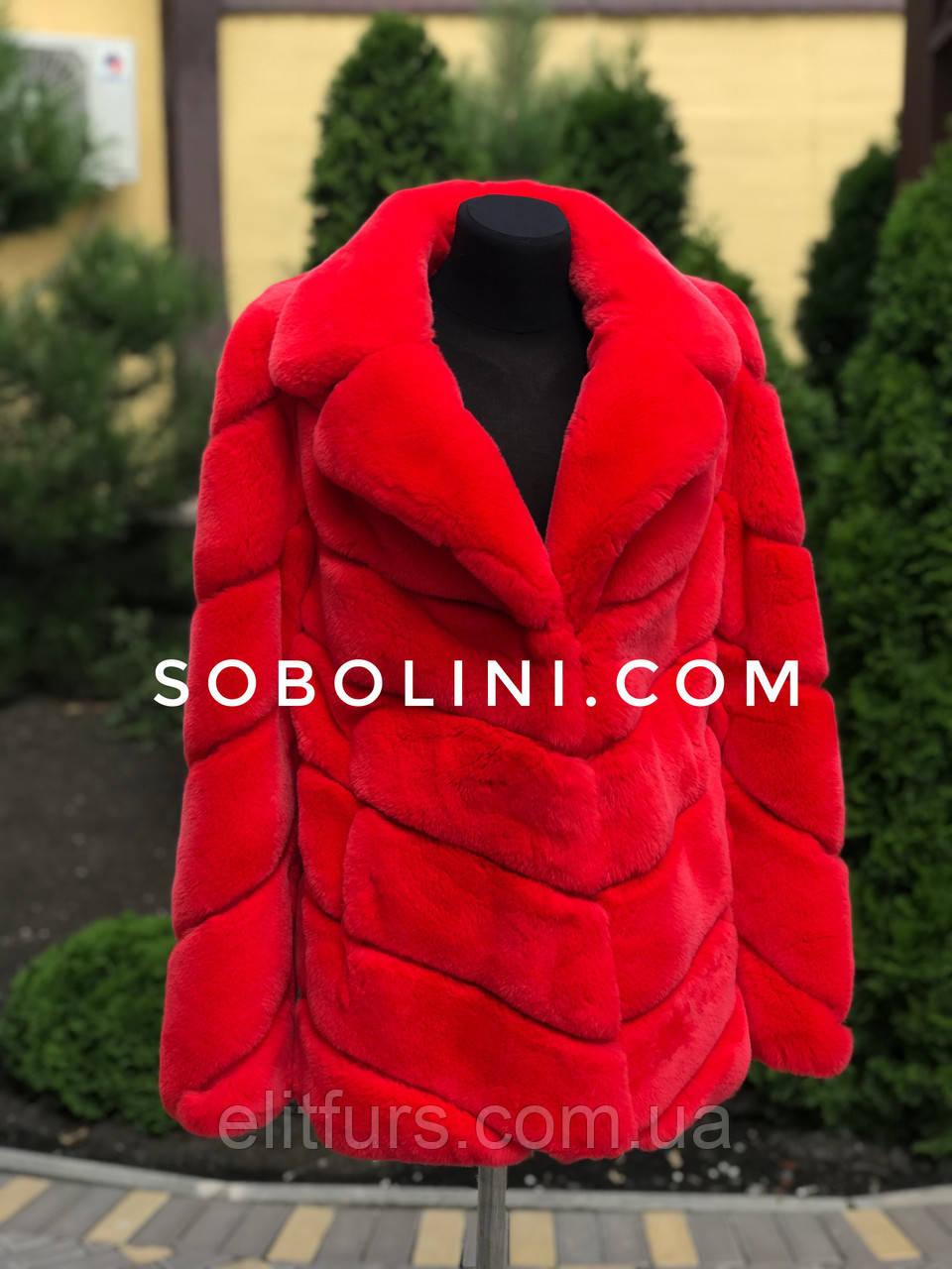 Полушубок красный из кролика рекс, размер 44