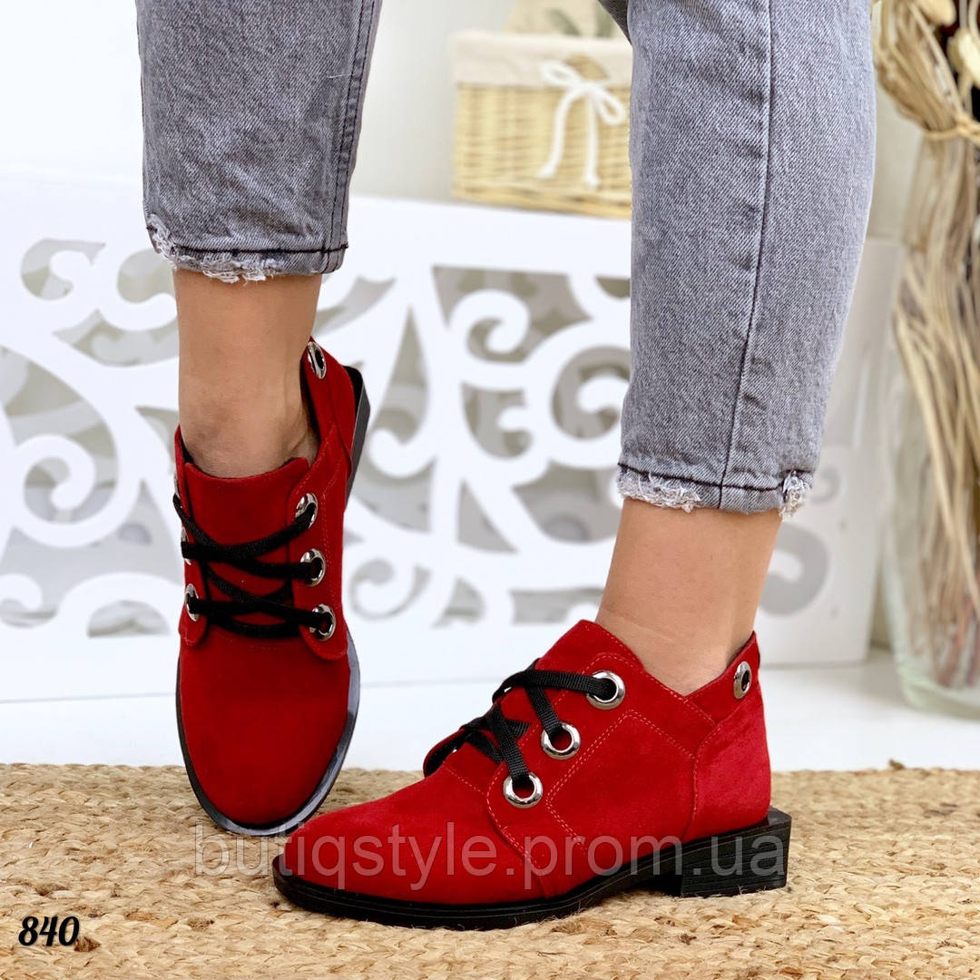 Женские красные ботинки натуральная замша на низком ходу Деми