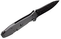 Нож складной с металлической рукояткой, сужающийся вытянутый клинок, с выфрезерваными геометрическими фигурами, фото 1