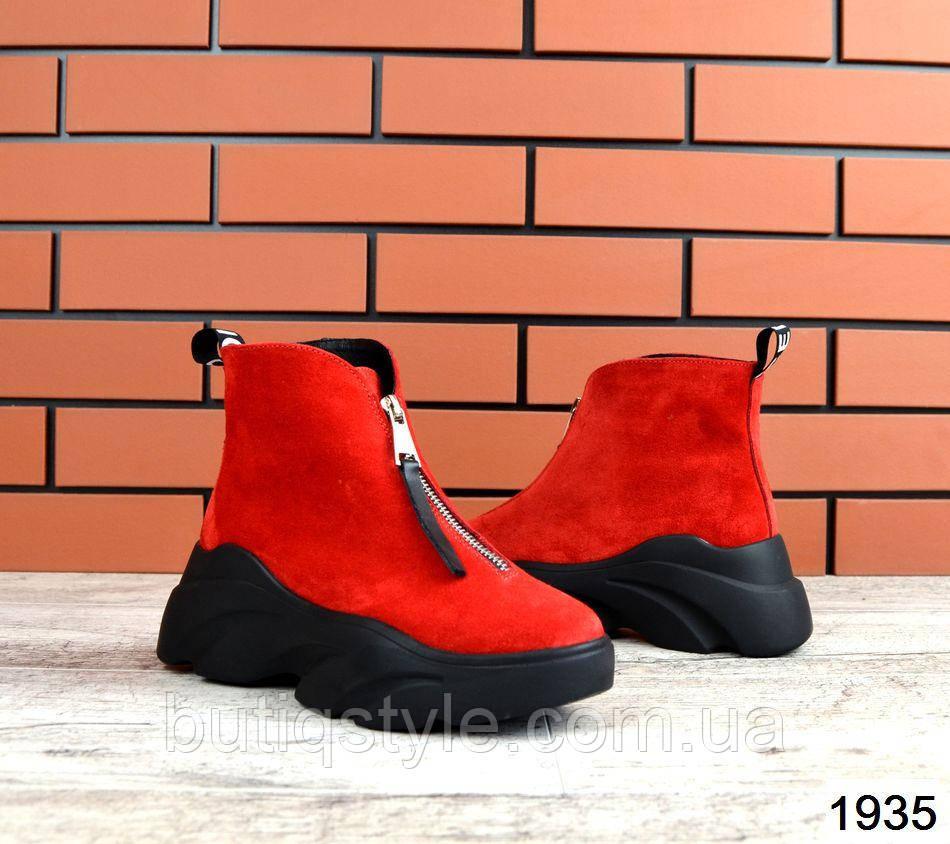 Женские красные ботинки Balenci@ga натуральная замша на молнии Деми
