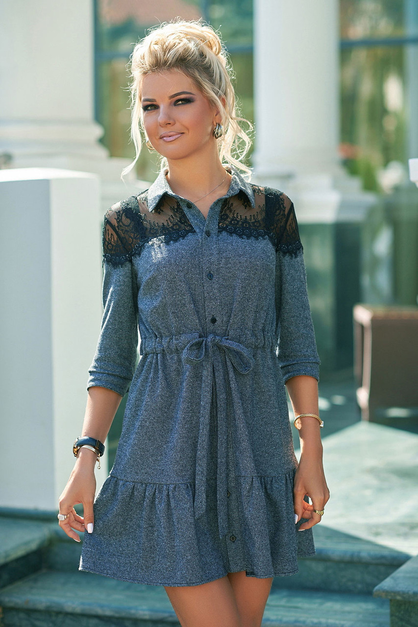 Демисезонное Платье с кружевной кокеткой