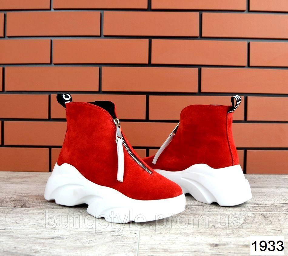 Женские красные ботинки Balenci@ga натуральная замша на белой платформе Деми
