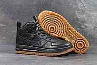 Мужские кроссовки  Nike Lunar Force 1 (найк аир форс 1 высокие, кожа, черные)