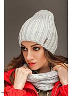 """Комплект шапка и шарф вязаные """"Брест """" небесный 903831, фото 1"""