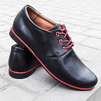 Туфли оксфорды черные закрытые женские натуральная кожа  красный кант от производителя 36 37 38 39 40 332037
