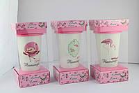 Кружка с силиконовой крышкой в подарочной упаковке Flamingo