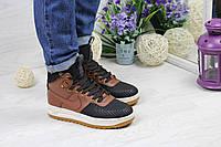 Женские кроссовки Nike (Найк) Lunar Force 1 (высокие, кожа, черные с коричневым)