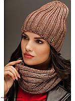 "Комплект шапка и шарф вязаные ""Брест "" коричнево-бежевый 903816"
