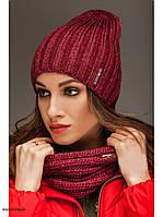 """Комплект шапка и шарф вязаные """"Брест """" малиновый 903826, фото 1"""