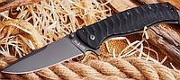 Нож складной, снабжен нитрид титановым защитно-декоративным покрытием, с волнисто-ребристыми узорами, стильный, фото 1