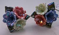 Серьги-гвоздики из полимерной глины № 1 с эмалью от Студии  www.LadyStyle.Biz