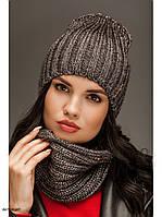 """Набор шерстяной, шапка и шарф """"Брест"""" антрацит 906459"""