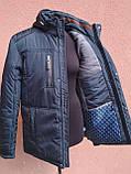 Чоловіча зимова куртка класична, темно-синя, фото 5