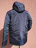 Чоловіча зимова куртка класична, темно-синя, фото 4