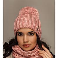 """Комплект шерстяной, шапка и шарф """"Брест"""" розовый  906463"""