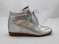 Кеды женские на танкетке Isabel Marant Bobby Sneakers на шнурках серебро кожа 36 (23см)