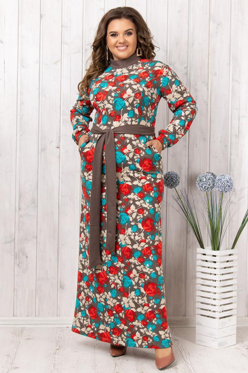 Длинное цветочное платье больших размеров (52-56)