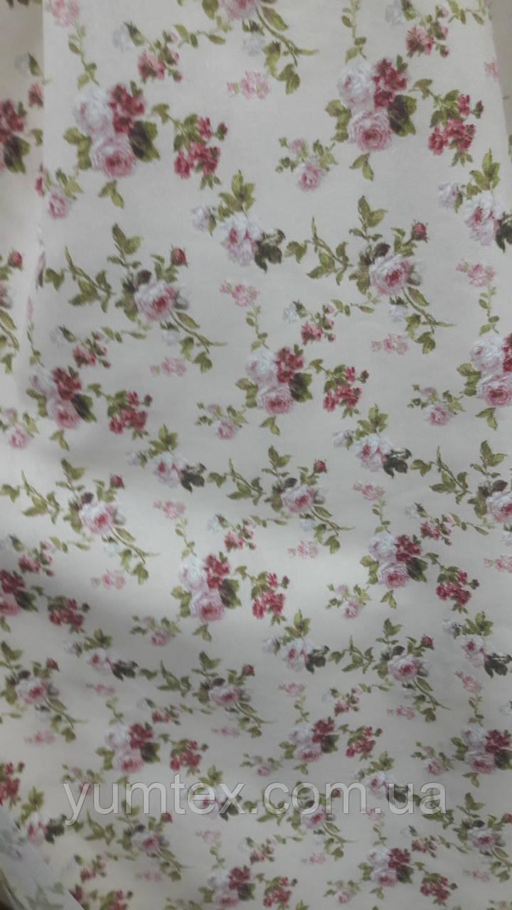 Декоративная ткань Флора, мелкий цветок, фон крем