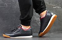 Мужские кроссовки Reebok,(весна-осень, мужские, пресс кожа, темно синие)