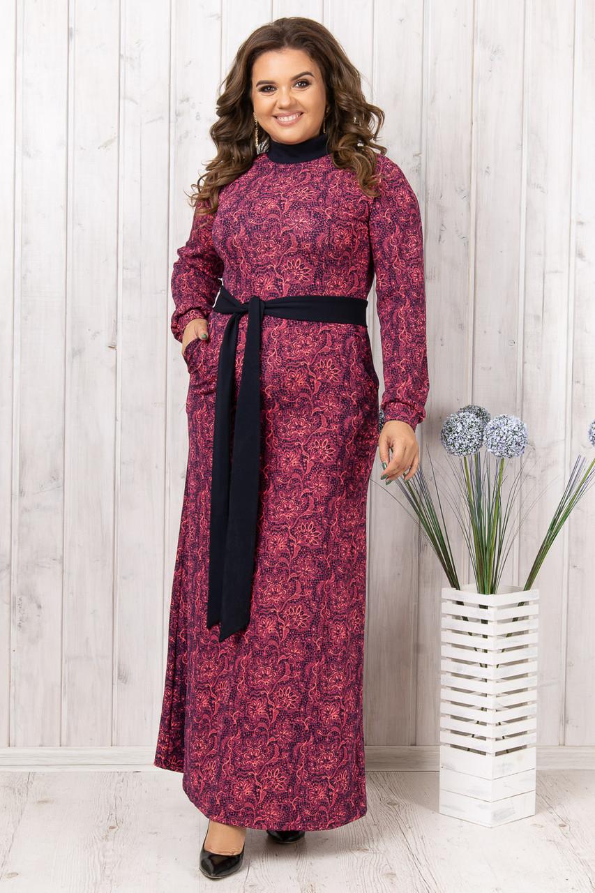 Макси платье с длинным поясом 46-54 (в расцветках)
